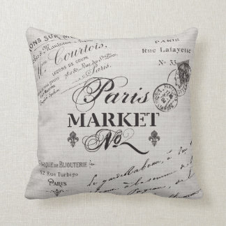 Paris typography pillow-black and white throw pillows