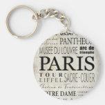 Paris Typography - Subway Style Basic Round Button Keychain