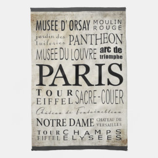 Paris Typography - Subway Style Hand Towels
