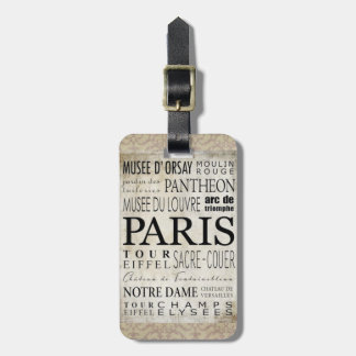 Paris Typography - Subway Style Travel Bag Tag