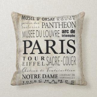 Paris Typography - Subway Style Throw Pillow