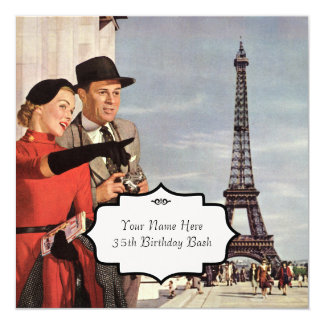 """París ve el vintage invitación 5.25"""" x 5.25"""""""