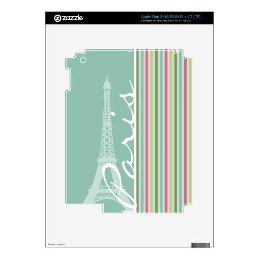 París; Verde menta y rayas rosadas iPad 3 Skins