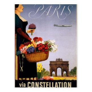 Paris via Constellation Postcard