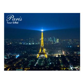 París - viaje Eiffel en la postal de la noche