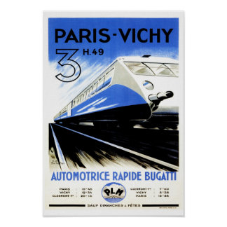 Paris-Vichy Train Poster