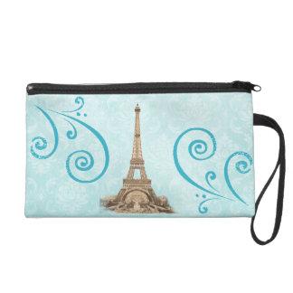 Paris Vintage Aqua Damask Personalized Wristlet
