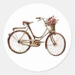Paris Vintage Bike Bicycle  Basket Flowers Roses Classic Round Sticker