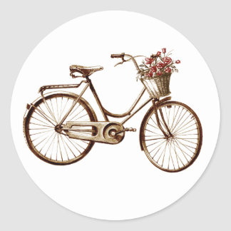 Paris Vintage Bike Bicycle  Basket Flowers Roses Classic Round Sticker