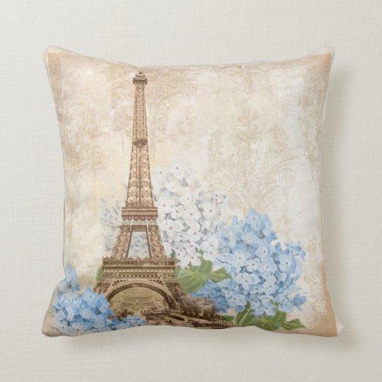 Paris Eiffel Tower Pillow 16 X 16: Paris Vintage Blue Hydrangea Pillow
