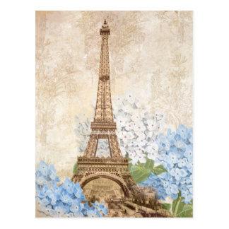 Paris Vintage Blue Hydrangea Postcard