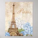 Paris Vintage Blue Hydrangea Print or Poster
