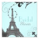 "Paris Vintage Bridal Shower Tea Party Invitaiton 5.25"" Square Invitation Card"