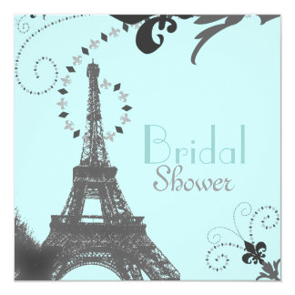 Paris Vintage Bridal Shower Tea Party Invitaiton 5.25x5.25 Square Paper Invitation Card