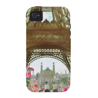 Paris Vintage Eiffel Tower and Roses Case Vibe iPhone 4 Cover