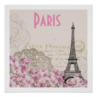 PARIS | vintage Eiffel tower card Poster
