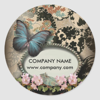Paris vintage floral butterfly SPA beauty salon Classic Round Sticker