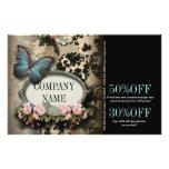 Paris vintage floral butterfly SPA beauty salon Flyer