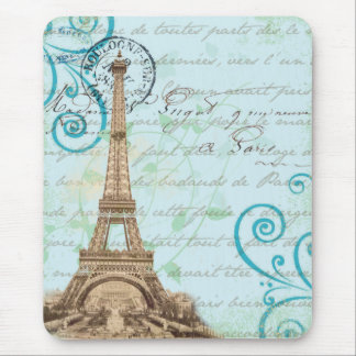 Paris Vintage French Writing Aqua Mouse Pad