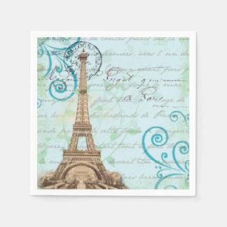 Paris Vintage French Writing Aqua Napkins Paper Napkin