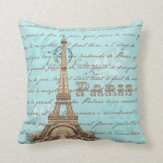 Paris Vintage French Writing Aqua Pillow