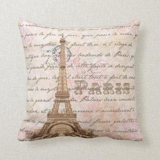 Paris Vintage French Writing Pink Pillow
