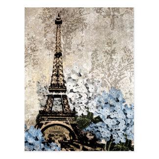 Paris Vintage Hydrangeas Dark Postacard Postcard