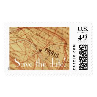 PARIS Vintage Map Save the Date Postage