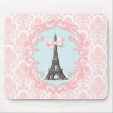 Pink Damask Paris girly Mousepad