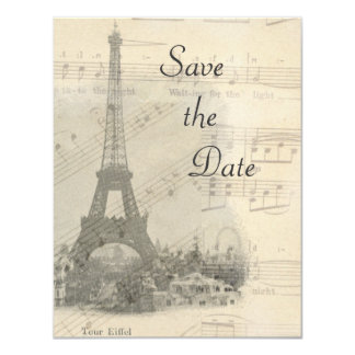 Paris Vintage Music Wedding Save the Date Card