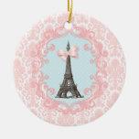 Paris Vintage Double-Sided Ceramic Round Christmas Ornament
