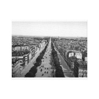 Paris vintage panorama, Champs Elysses Ave 1905 Canvas Print