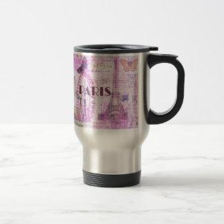 PARIS Vintage Parisian Theme art 15 Oz Stainless Steel Travel Mug