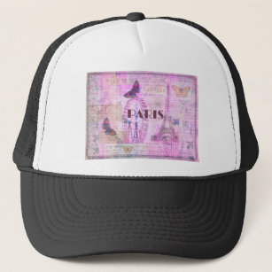 PARIS Vintage Parisian Theme art Trucker Hat 7c2a8380193