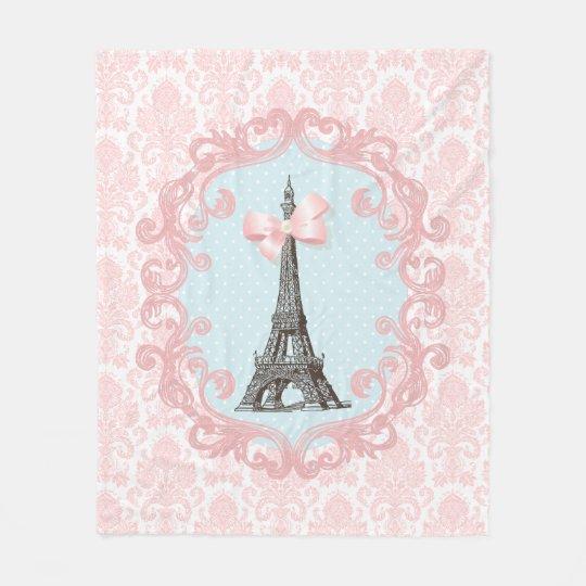 As Creation Pink Paris Pattern Eiffel Tower Childrens: Paris Vintage Pink Damask Eiffel Tower Girly Bow Fleece