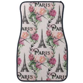Paris Vintage Pink Roses Car Mats