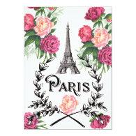 Paris Vintage Pink Roses Invitation 5