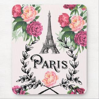 Paris Vintage Pink Roses Mouse Pad