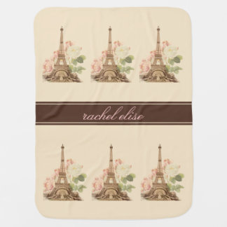 Paris Vintage Pink Roses Personalize Baby Blanket