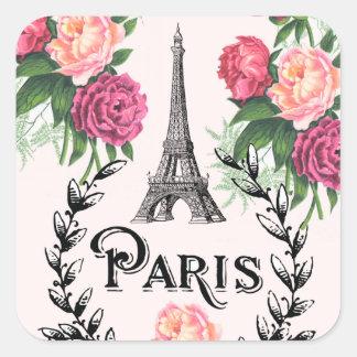 Paris Vintage Pink Roses Stickers