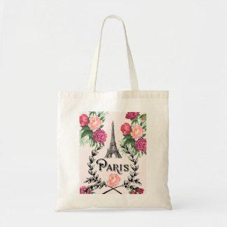 Paris Vintage Pink Roses Tote Bag