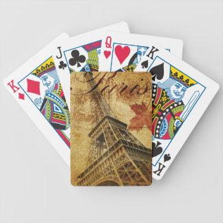 Paris vintage poster. bicycle playing cards
