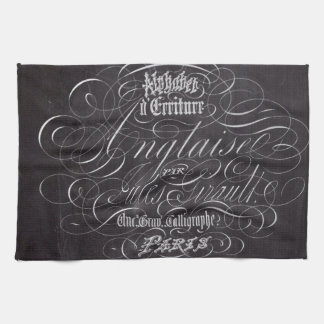 paris vintage scripts french country chalkboard towel