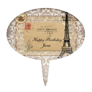 Paris Vintage Shabby Chic Eiffel Tower Cake Topper