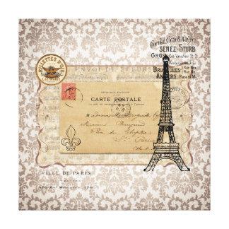 Paris Vintage Shabby Chic Eiffel Tower Gallery Wrap Canvas