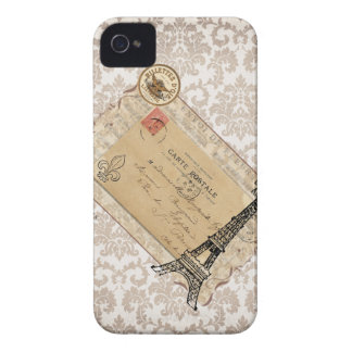 Paris Vintage Shabby Chic Eiffel Tower Case-Mate iPhone 4 Cases