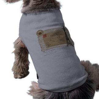 Paris Vintage Shabby Chic Eiffel Tower Doggie Tshirt