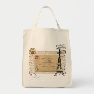 Paris Vintage Shabby Chic Eiffel Tower Grocery Tote Bag