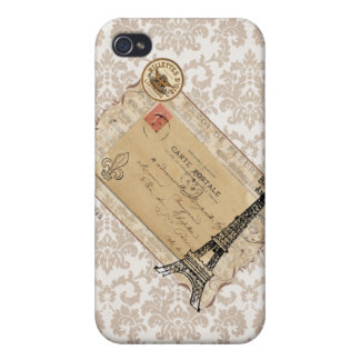 Paris Vintage Shabby Chic Eiffel Tower iPhone 4 Cover
