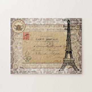 Paris Vintage Shabby Chic Eiffel Tower Jigsaw Puzzle
